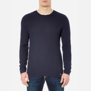 HUGO Men's Salexo Crew Neck Knitted Jumper - Navy