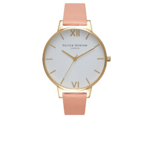 Olivia Burton Women's White Big Dial Watch - Dusty Pink/Gold