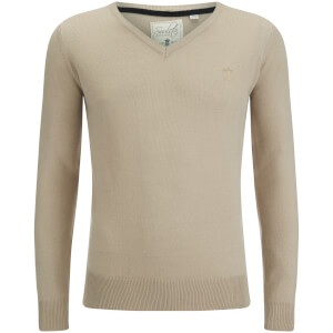 Soul Star Men's Alpha V Neck Jumper - Stone