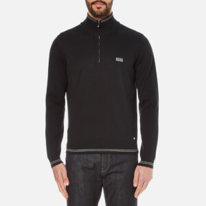 BOSS Green Men's Zime Zip Neck Knitted Jumper - Black
