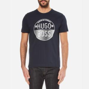 BOSS Green Men's Large Logo Crew Neck T-Shirt - Navy