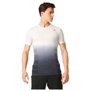 adidas Men's Primeknit Wool Dip-Dyed Running T-Shirt - White/Black
