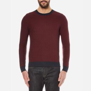 BOSS Orange Men's Kuvudo Textured Knitted Jumper - Dark Blue