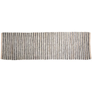 Broste Copenhagen Nor Leather and Cotton Rug - Grey/Silver