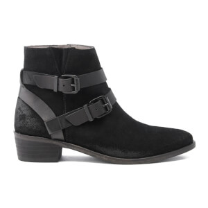 H Shoes by Hudson Women's Meeya Suede Buckle Heeled Ankle Boots - Black
