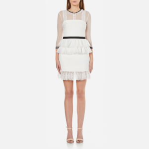 Three Floor Women's Duchess Lace Dress with Mesh Sleeves - Off White/Black