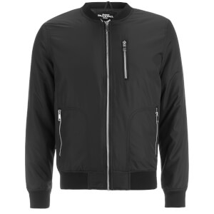 Brave Soul Men's Darrell Padded Bomber Jacket - Black