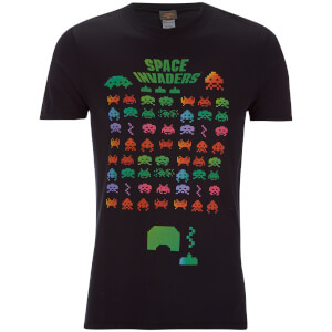 Atari Herren Space Invaders Rainbow Arcade Game T-Shirt - Schwarz