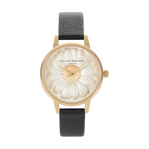 Olivia Burton Women's Daisy 3D Flower Watch - Black/Gold