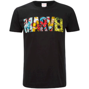 Marvel Mens Comic Strip Logo T-Shirt - Zwart