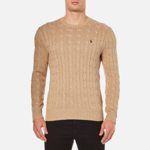 Polo Ralph Lauren Men's Crew Neck Cable Knitted Jumper - Camel Melange