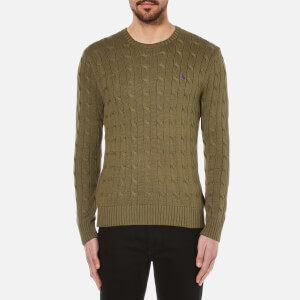 Polo Ralph Lauren Men's Crew Neck Cable Knitted Jumper - New Olive