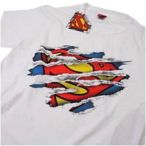 DC Comics Men's Superman Torn Logo T-Shirt - White: Image 3