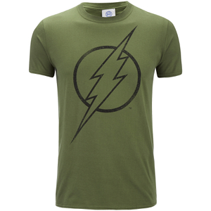 DC Comics Mens The Flash Line Logo T-Shirt - Military Green