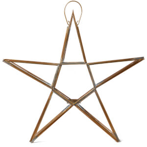 Nkuku Sanwi Standing Star T-Light Holder 35 x 37.5cm - Antique Brass