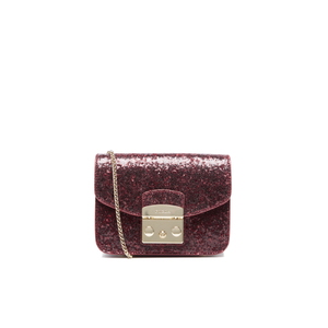Furla Women's Metropolis Mini Glitter Cross Body Bag - Rubino