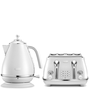 De'Longhi Elements Kettle and Four Slice Toaster - White