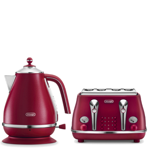 De'Longhi Elements Kettle and Four Slice Toaster - Red