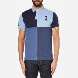 Hackett London Men's Marl Numbered Quad Polo Shirt - Blue/Multi