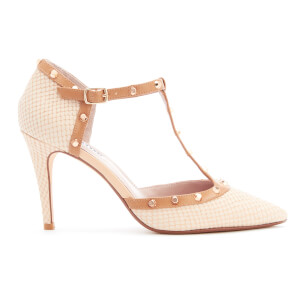 Dune Women's Cliopatra Embossed Leather Open Court Shoes - Nude