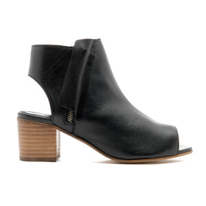Dune Women's Joanna Peep Toe Leather Ankle Boots - Black