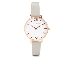 Olivia Burton Women's White Dial Big Dial Watch - Grey & Rose Gold