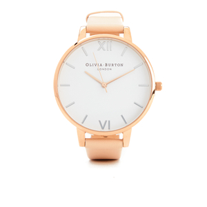 Olivia Burton Women's White Dial Big Dial Watch - Nude Peach & Rose Gold