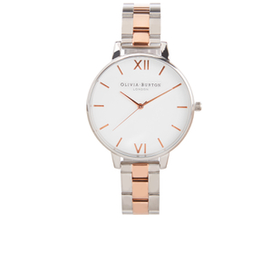 Olivia Burton Women's White Dial Bracelet Watch - Silver & Rose Gold