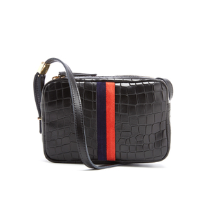 Clare V. Women's Mini Sac Cross Body Bag with Skipper Stripes - Black Tile Croc