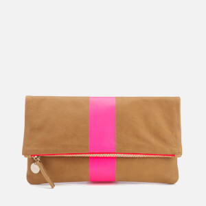 Clare V. Women's Foldover Clutch Bag - Camel Nubuck with Pink Stripe