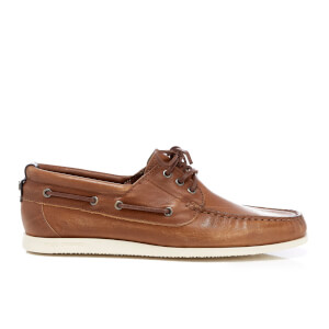 BOSS Orange Men's Nydeck Leather Boat Shoes - Medium Brown
