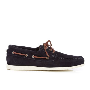BOSS Orange Men's Nydeck Leather Boat Shoes - Dark Blue
