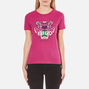 KENZO Women's Printed Tiger On Cotton Single Jersey T-Shirt - Pink