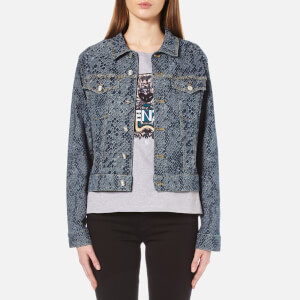 KENZO Women's Snake Stretch Jacquard Denim Jacket - Navy