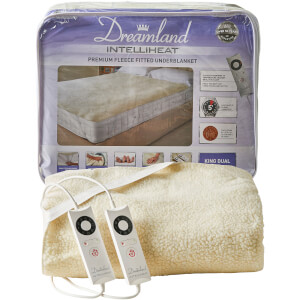 Dreamland 16298 Sleepwell Intelliheat Soft Fleece Fitted Electric Under Blanket - Cream - King Dual