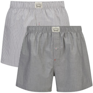 Levi's Men's 330LS 2-Pack Striped Chambray Woven Boxers - Anthracite Denim