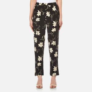 Ganni Women's Rosemont Crepe Floral Trousers - Black Wild Rose