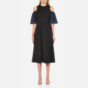 Ganni Women's Rogers Cold Shoulder Dress - Black/Total Eclipse