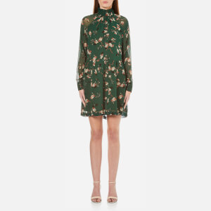 Ganni Women's Marietta Georgette Dress - Pine Grove Leaves
