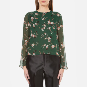 Ganni Women's Marietta Georgette Long Sleeve Top - Pine Grove Leaves