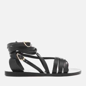 Ancient Greek Sandals Women's Satira Multi Strap Vachetta Leather Gladiator Sandals - Black