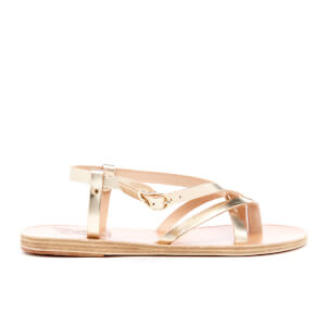 Ancient Greek Sandals Women's Semele Multi Strap Flat Vachetta Leather Sandals - Platinum
