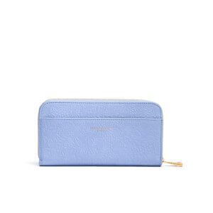 Aspinal of London Women's Continental Clutch Embossed Flower Purse - Blue
