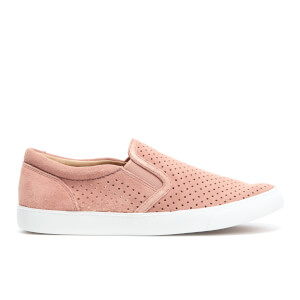 Clarks Women's Glove Puppet Perforated Suede Slip-On Trainers - Dusty Pink