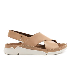 Clarks Women's Tri Alexia Leather Cross Front Sandals - Nude