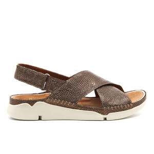 Clarks Women's Tri Alexia Leather Cross Front Sandals - Metallic