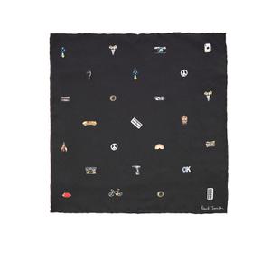 Paul Smith Men's Cufflink Print Silk Pocket Square - Black