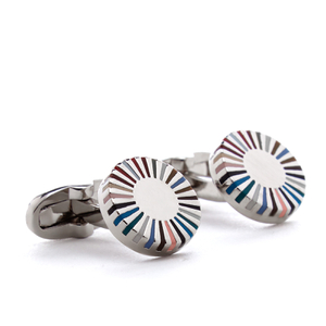 Paul Smith Men's Multistripe Ray Edge Cufflink - Silver