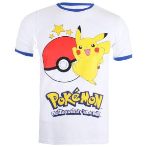 Pokemon Herren Pikachu Ringer T-Shirt - Weiß/Royal Blau