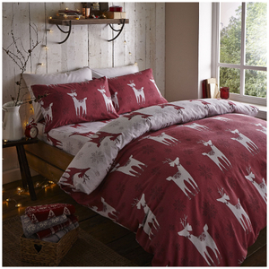 Catherine Lansfield Nordic Deer Brushed Cotton Bed In A Bag - Red